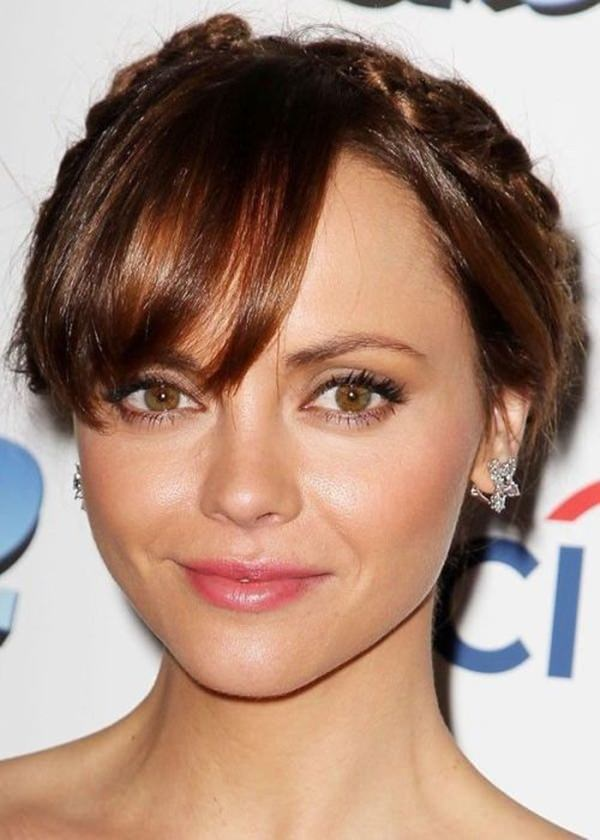 For round faces, making thick braids appear like a crown on your short hairstyle is very fashionable. Actress Christina Ricci looks stunning with this ...