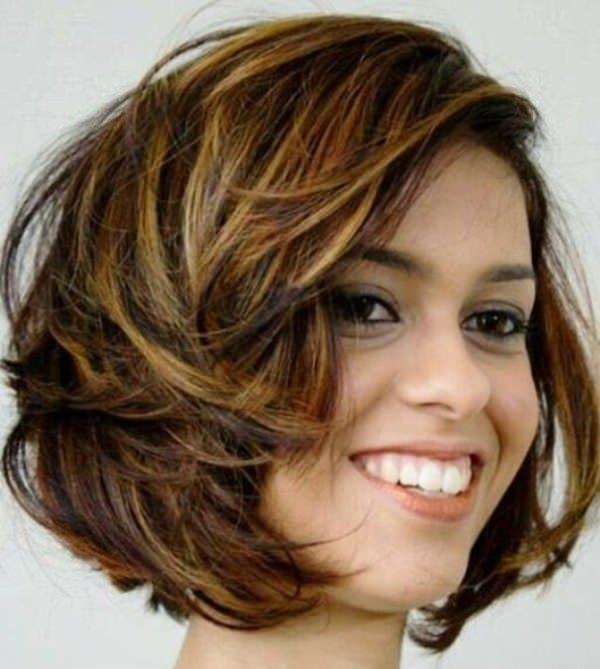 Brunette Bob Hairstyle With Light Balayage Highlights