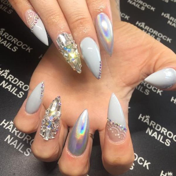 Metallic Shiny Nails - 61 Acrylic Nails Designs For Summer 2018 - Style Easily