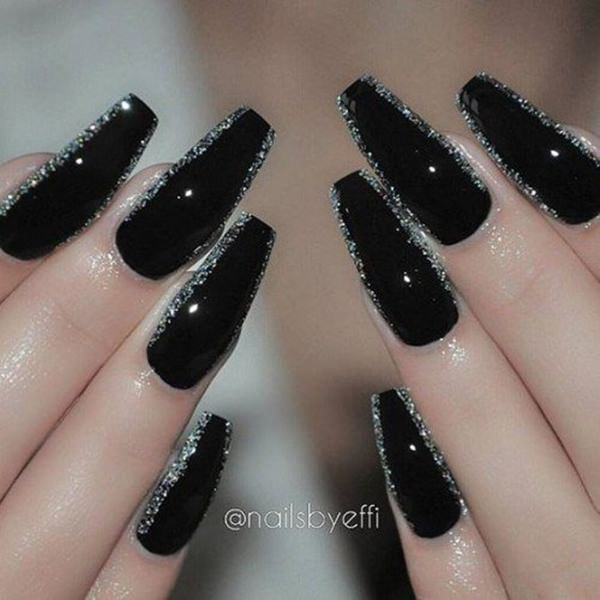 22 Silver Edged Shiny Black Nail