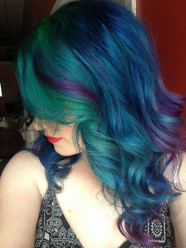 Blue Purple And Green Hair