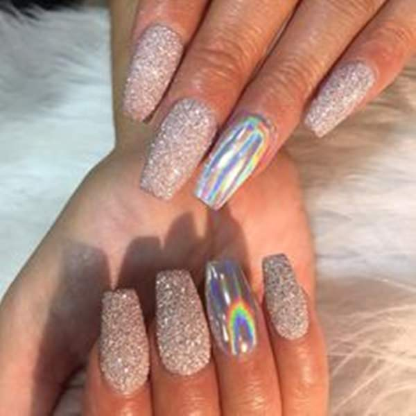 Glitters For The Nails - 61 Acrylic Nails Designs For Summer 2018 - Style Easily