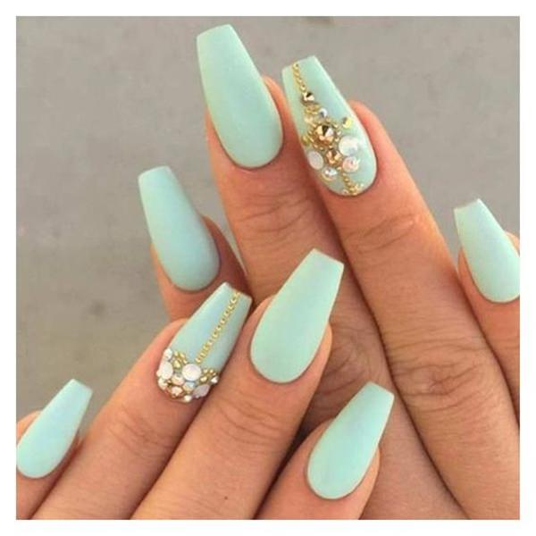 Choose A Minty Flavor For Your Coffin Shaped Nails Add The Rhinestones Voila Elegance