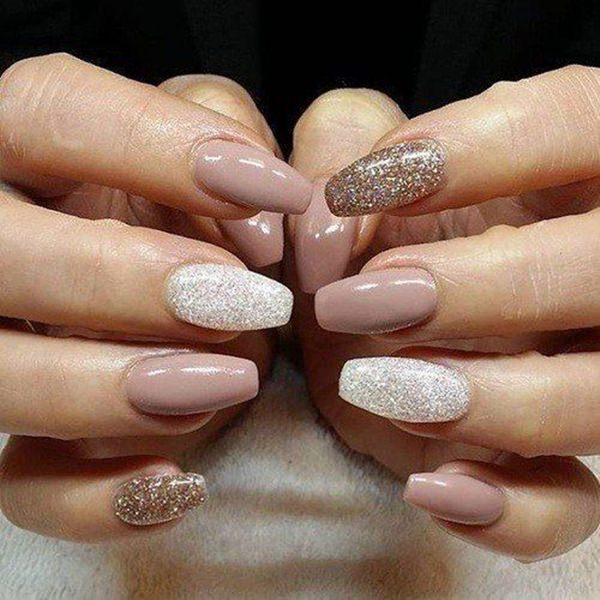 Solid Glitters - 61 Acrylic Nails Designs For Summer 2019 - Style Easily