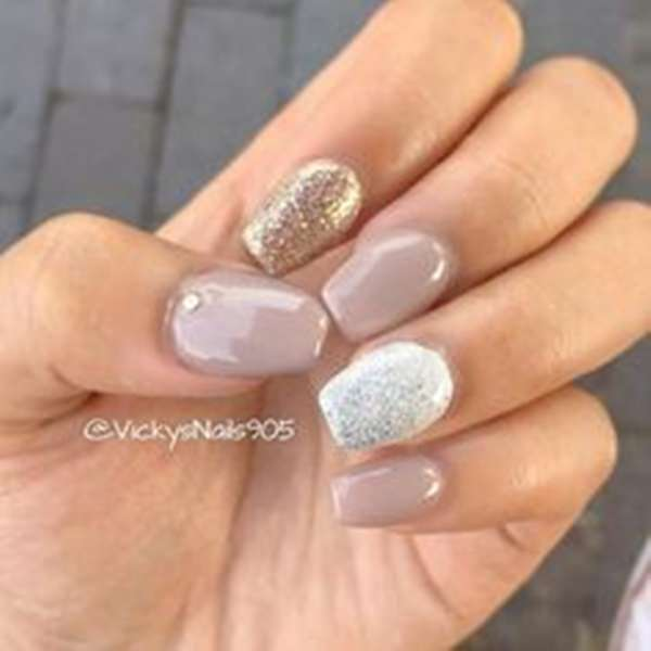 52. Silver, Gold, And Nude. This is another example of acrylic nail design  ... - 61 Acrylic Nails Designs For Summer 2019 - Style Easily
