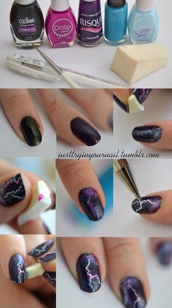 101 easy nail designs for beginners style easily 51 thunder effect solutioingenieria Choice Image