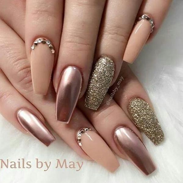 56. Metallic Nude Colors - 61 Acrylic Nails Designs For Summer 2018 - Style Easily