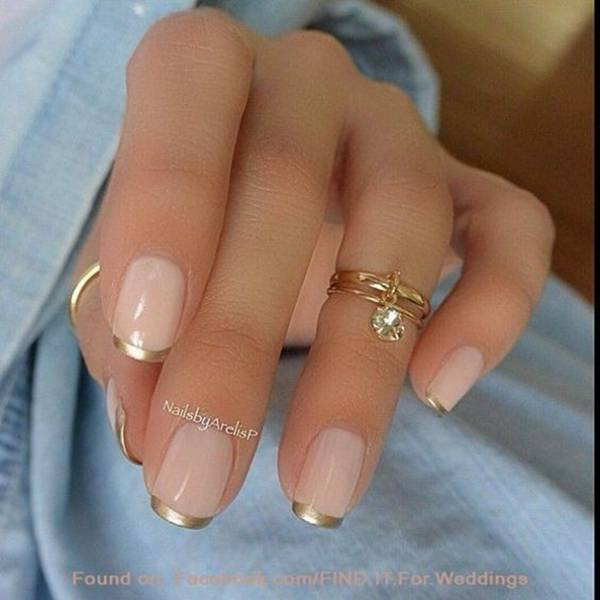 56. Golden French Tip - 101 Easy Nail Designs For Beginners - Style Easily