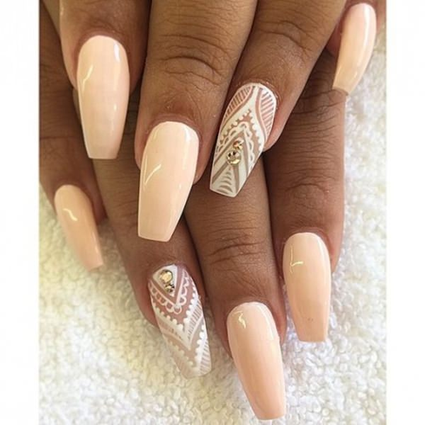 For your big day, you can choose a coffin nail design with a blend of white  patterns for the ring finger (of course) and a solid cream color for the  others. - 73 Coffin Nails To Die For - Style Easily