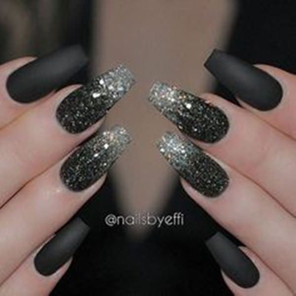 Black Glitter Nails. Acrylic nail designs ... - 61 Acrylic Nails Designs For Summer 2019 - Style Easily