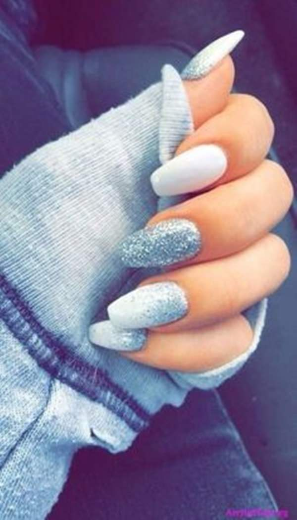 9. Blue & White - 61 Acrylic Nails Designs For Summer 2018 - Style Easily