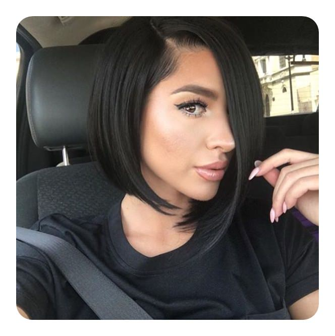 If you have equal length of hair on either side of your part, you will have the classic bob haircut. So, to make it more fun opt for asymmetricity.