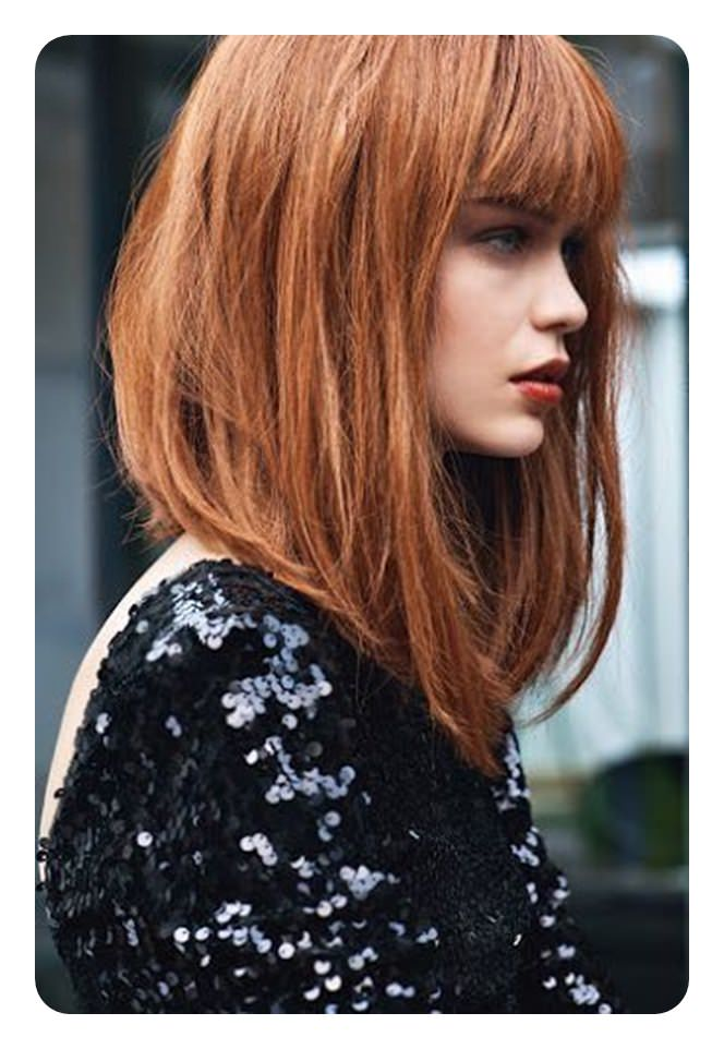 Inverted Bob Hairstyles Look Great With Bangs This Hairstyle Is Of Medium Length The Color Her Hair Beautiful Finish